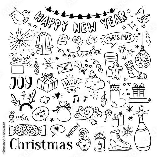 hand drawn christmas and new year doodles cute winter icons happy