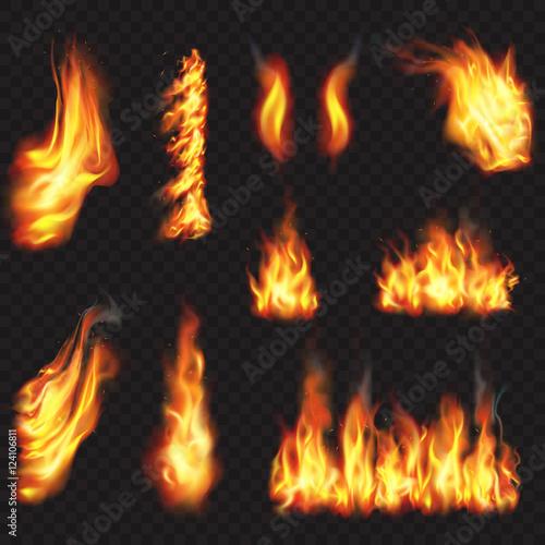 Realistic fire flames effect, vector illustration set. Fotomurales