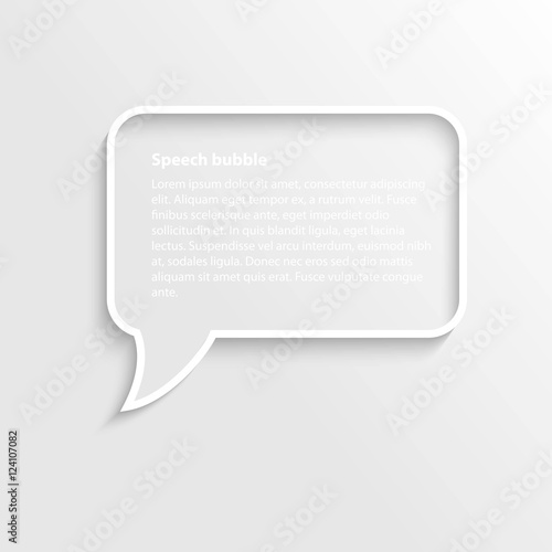Square with round corners 3d realistic speech bubble frame with text