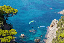 Aerial View Of The Paraglider ...