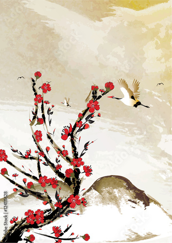 Mountain background with cherry flowers and crane birds japanese mountain background with cherry flowers and crane birds japanese style great for greeting cards m4hsunfo