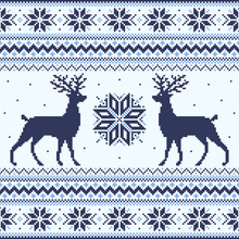 Blue Winter Pixel Background With Deer And Snowflakes