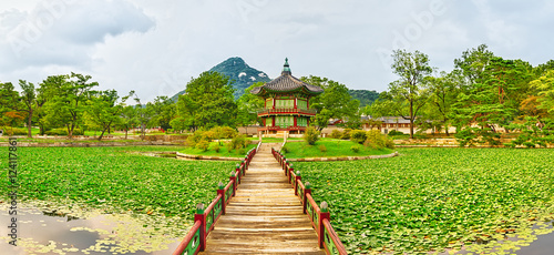 Fotobehang Seoel Gyeongbokgung Palace. South Korea. Panorama