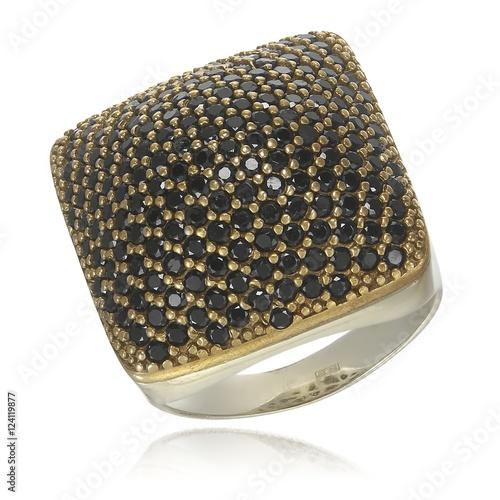Fotografie, Tablou Silver ring with black zirconium stones