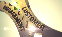 Golden Gears With Customer Engagement Concept. 3D Render.
