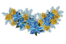 Vintage Christmas Garland With Golden Pine Cones And Blue Poinsettia Isolated On White Background