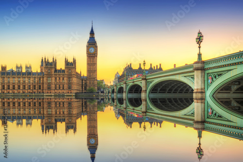 Big Ben and Westminster Palace in London at sunset, UK Wallpaper Mural