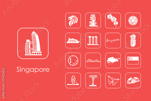 Photo  Set of Singapore simple icons