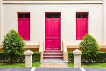 Pink Door , Pink Window On Cream Wall On Pink Staircase With Sma