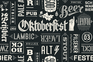 FototapetaSeamless pattern with types of beer and hand drawn lettering for Oktoberfest Beer Festival. Vintage drawing for placemat, bar menu, t-shirt print and beer themes. Vector Illustration