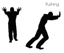 Man In  Pushing  Action Pose