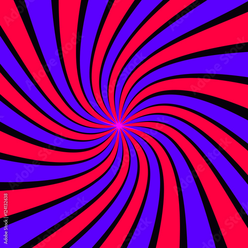 Spoed Foto op Canvas Psychedelic Abstract twirl background retro style. Vector illustration.