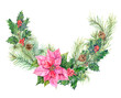 Christmas wreath. Bouquet of plants: pine branches and cones, holly berry and poinsettia flower on white background, hand draw watercolor painting, botanical illustration, vintage