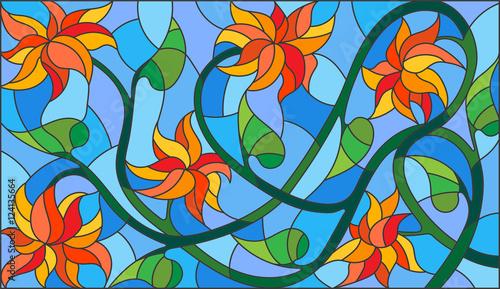 ilustracja-w-witrazu-stylu-z-abstrakcjonistycznymi-pomaranczowymi-kwiatami-na-blekitnym