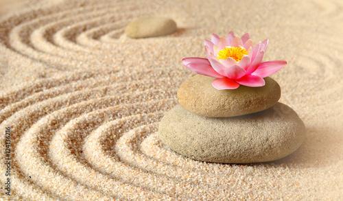 piasek-kwiat-lilii-i-kamienie-spa-w-ogrodzie-zen