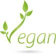 Vegetarisches Symbol mit Blättern, Vegan, Pflanze, Logo