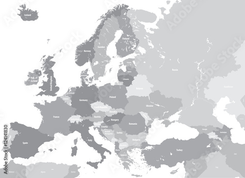 Europe high detailed vector political map. All elements separated in detachable and labeled layers