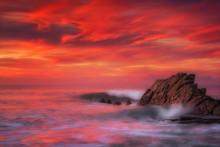 Waves In Azkorri Beach With Long Exposure
