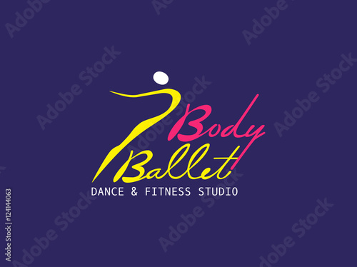 Dance Icon Concept Ballet Studio Logo Design Template Fitness Dance Class Banner Background With Symbol Of Abstract Ballerina In Dancing Pose Modern Bright Color Vector Illustration Buy This Stock Vector And