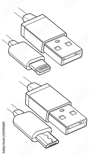 Micro Usb Cable Drawing