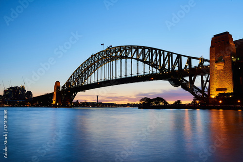 Harbour Bridge at dusk with long exposure. © Teerapong