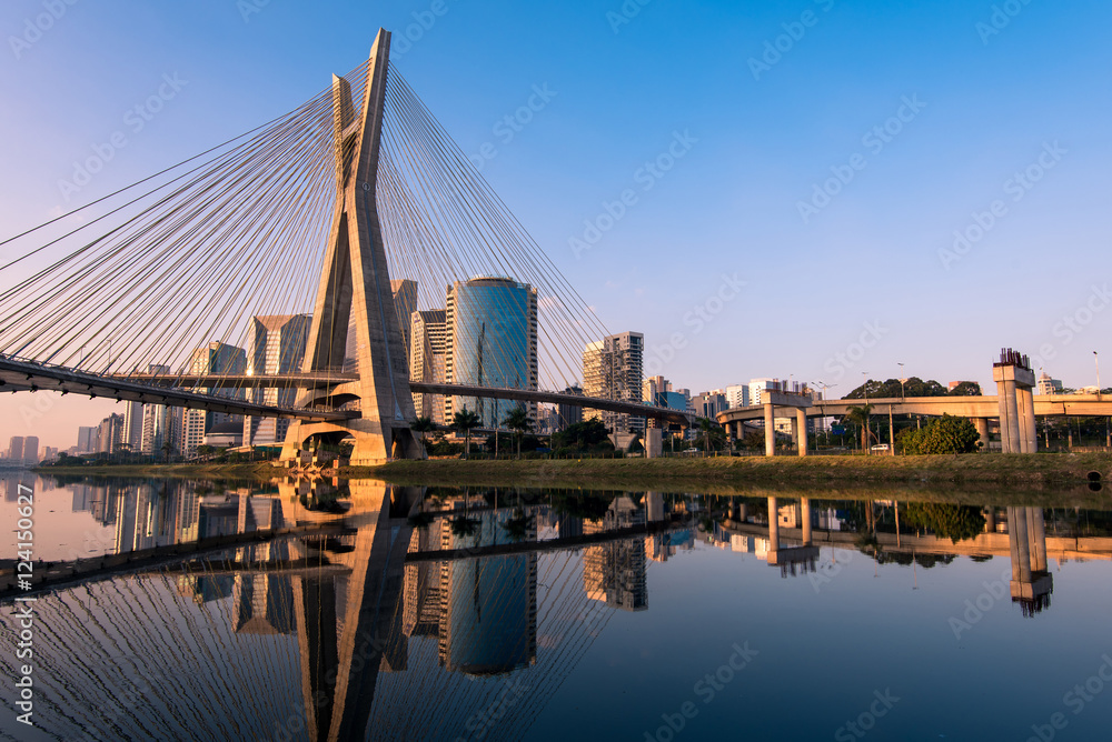 Octavio Frias de Oliveira Bridge in Sao Paulo is the Landmark of the City