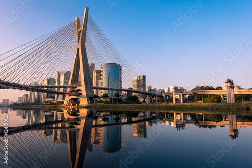 Fotobehang Brug Octavio Frias de Oliveira Bridge in Sao Paulo is the Landmark of the City
