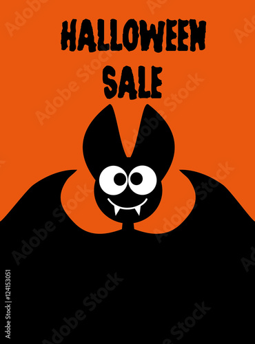 Bat On Orange Background Idea For Advertising A Website Banner Mailing Printing Of Flyers Invitations Brochures