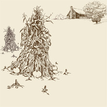 Background With Farmhouse, Cornstalks And Oak Tree. Hand Drawn Vector Illustration In Sepia Color.