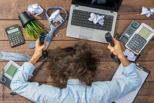 Fotografie, Obraz  Overworked businessman