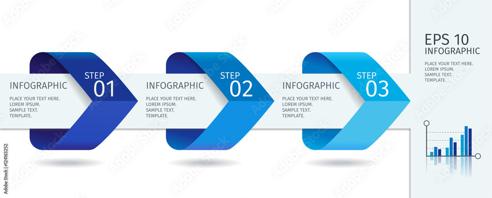 Fototapeta Infographic arrows with step up options. Vector template in flat design style