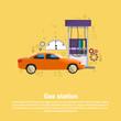 Gas Petrol Station Automobile Service Web Banner Flat Vector Illustration