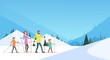 Big Family Skiing Winter Holiday Vacation Snow Sport Mountain Background Flat Vector Illustration