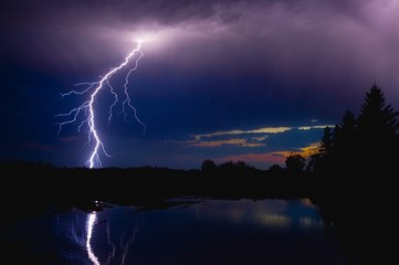 Lightning Storm Over A Lake