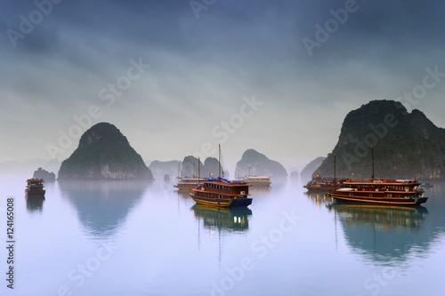 Floating hotel junk ships, Halong Bay, Vietnam