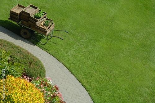 Papiers peints Jardin High Angle Garden And Grass