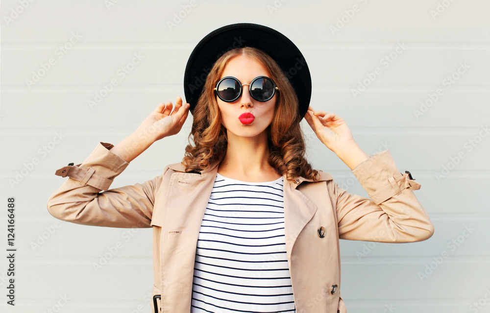 Fototapety, obrazy: Fashion portrait pretty sweet young woman blowing red lips weari