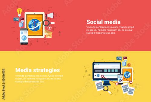 Social Media Communication, Marketing Strategy Business Web Banner