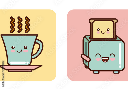 4 Cute Pastel Kitchen Items With Facial Expressions Icons Buy This Stock Template And Explore Similar Templates At Adobe Stock Adobe Stock