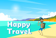Man On Seaside Vacation Holiday Trip Happy Travel Banner Flat Vector Illustration