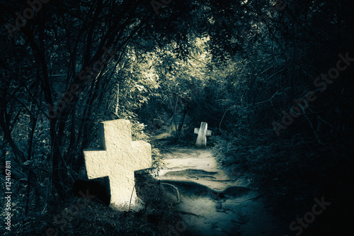 Fotografie, Obraz  Dark night spooky landscape with abandoned graves and memory stones in haunted mysterious forest