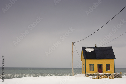 Little House, Winter, Atlantic Sea Front In Rocher, Perce, Quebec плакат