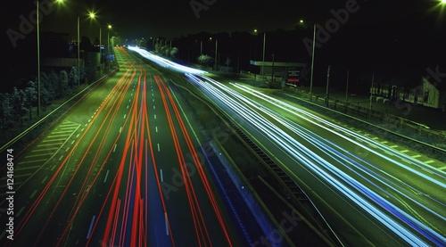 Light trails down busy road at night, Dublin, Ireland