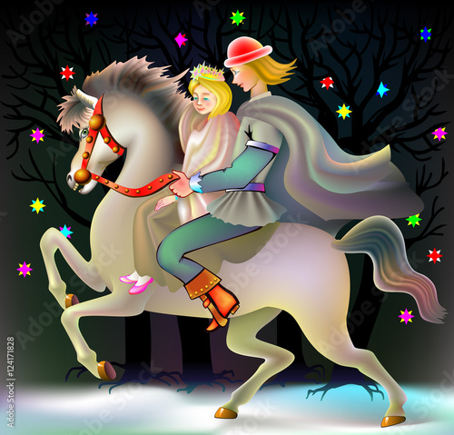 In de dag Kinderkamer Prince and princess riding on horse, vector cartoon image.