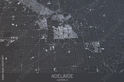Photo Cartina di Adelaide, vista satellitare, città, Australia
