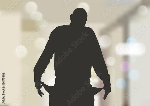 Homme fauché aux poches vides Canvas Print