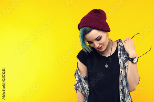 Photo  creative person style on yellow background