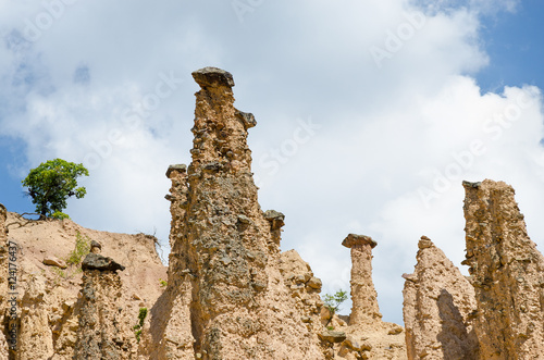 Fotografie, Obraz  Close-up of rock formations in Devil town, Serbia