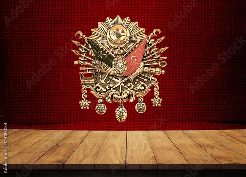 Fotografia  Ottoman, Wood Table, Background