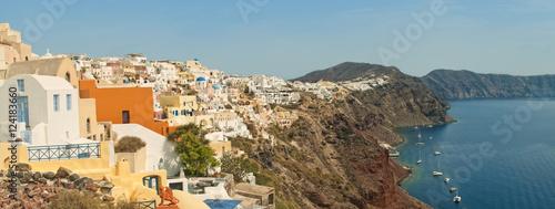 Poster de jardin Europe Méditérranéenne paroramic view of small city at cliff